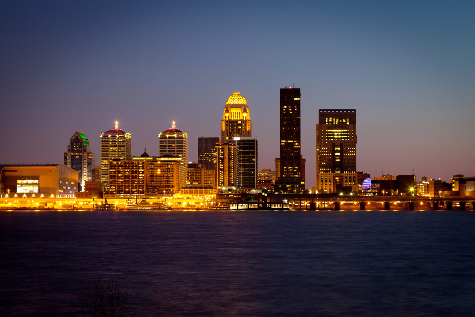Louisville Kentucky skyline and Ohio River at dusk