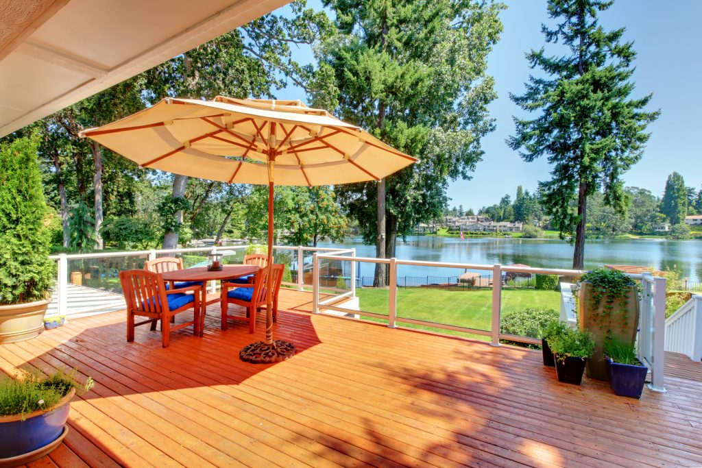 Sitting Room Area On Screened Walkout Deck With Patio Table, Umb