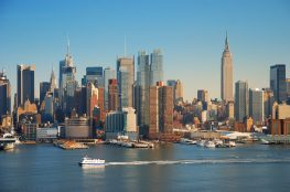 New York City skyline panorama over Hudson river with Empire Sta