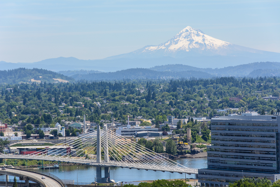 Portland and Mount Hood Panorama. Portland, Oregon, USA.