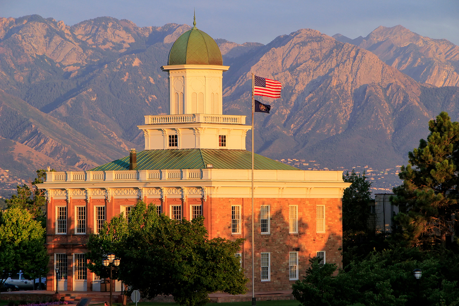 Salt Lake City Counsil Hall With Warm Evening Light, Utah