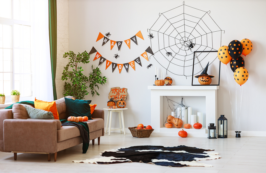 Interior of the House Decorated For Halloween Pumpkins