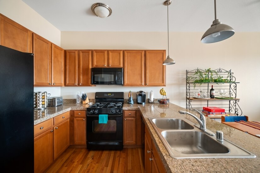Lots of counter space and cabinets.
