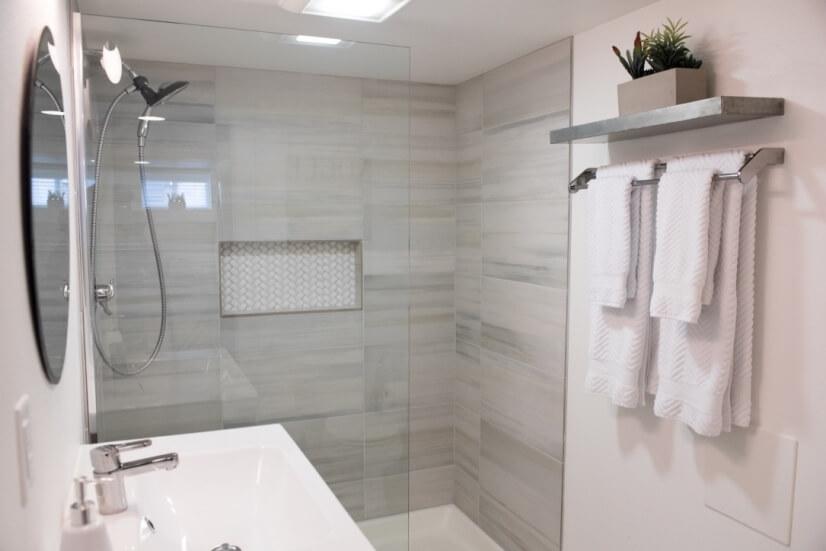 Dreamy oversize shower • Italian tile.