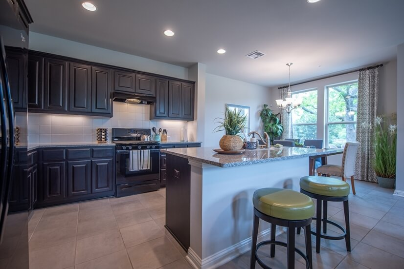 Kitchen with pantry.