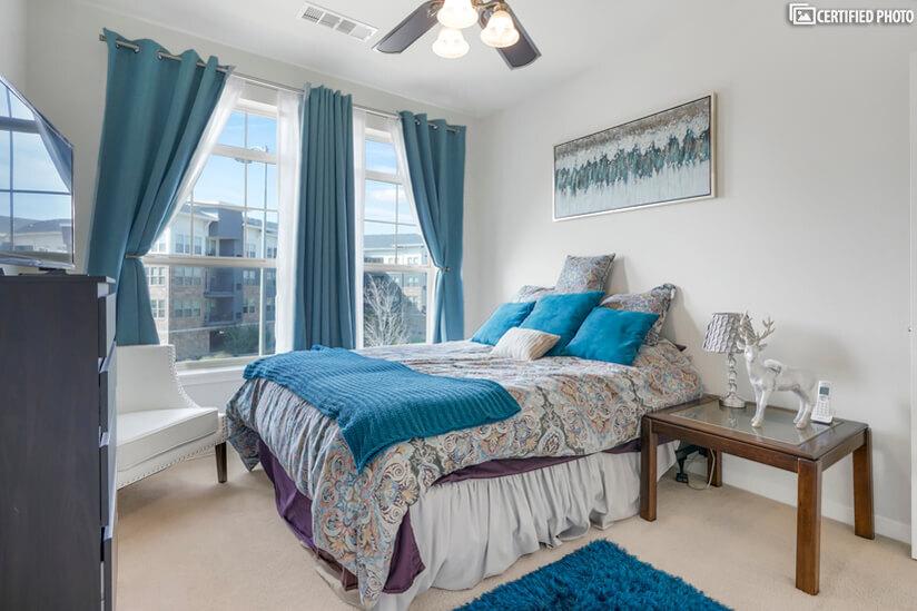 Second bedroom includes a premium queen mattress.
