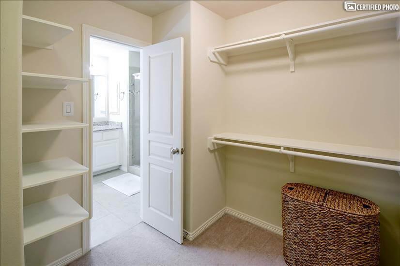 Master closet access to master bathroom