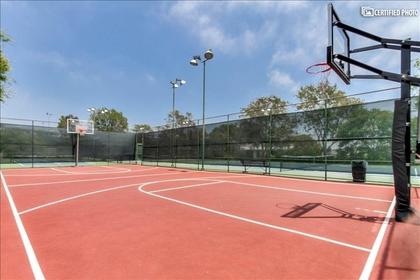 A full-sized basketball court.