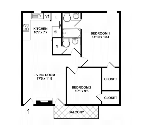 a larger living space of 1,100 sq ft. with a total of 2 bed