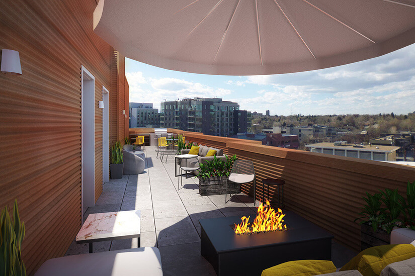 Roof Top Terrace with grill and fire pit.