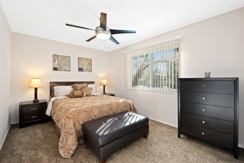 This Master bedroom comes with a walk-in closet