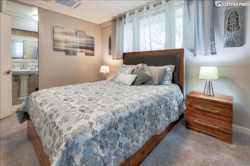 Dresser bed and nightstands offer plenty of s