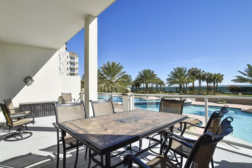 Ground-level units offer large pool side patios.
