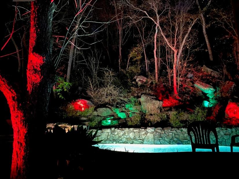 Backyard lights at night