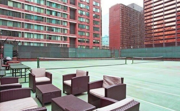 Rooftop Grill space, tennis court and basketball