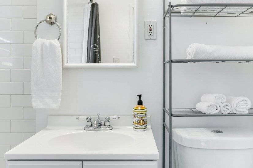 Bathroom with single-sink vanity