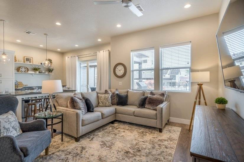 Family Room with sectional and wing back chair