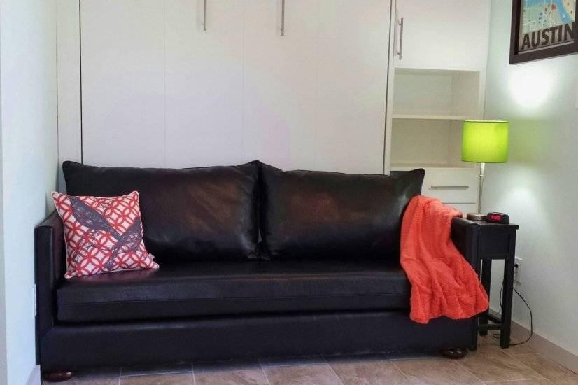 2nd floor Plush black leather sofa