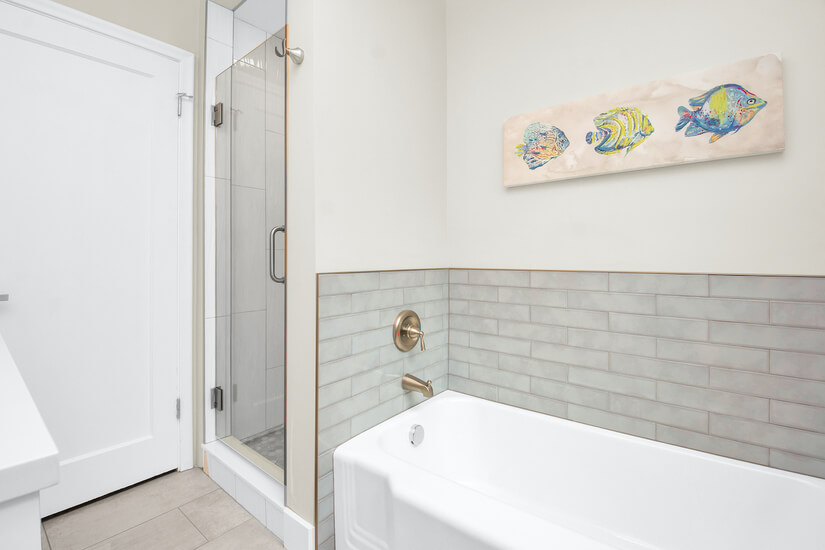 Main Bathroom has separate shower & tub