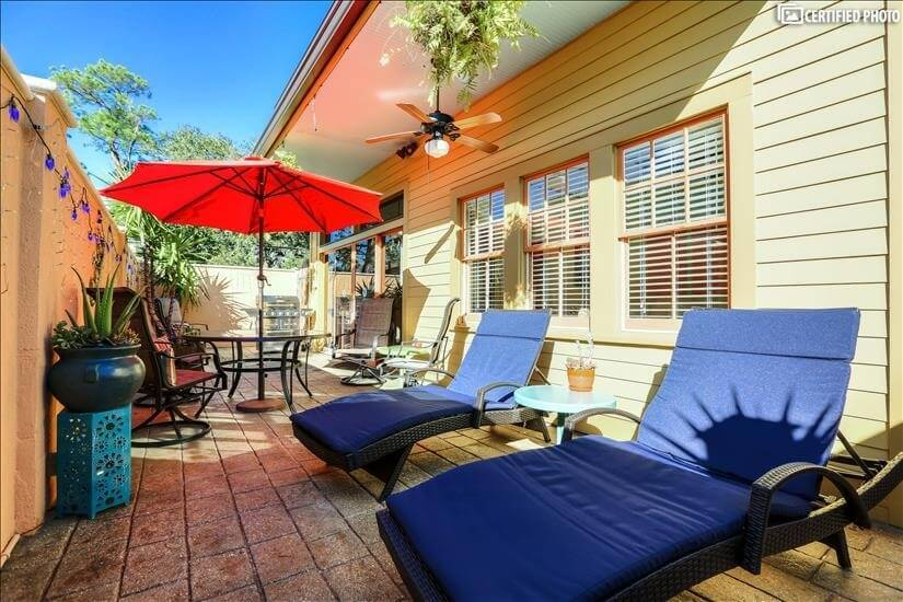 Enjoy the Private Patio Space with Assorted Furniture