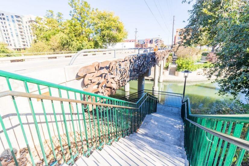 Stairs from Townhomesto riverwalk