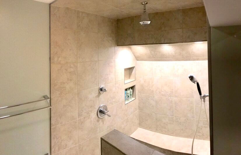 view of walk-in shower of this bathroom
