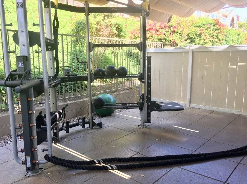 Gym also has outdoor area with equipment.
