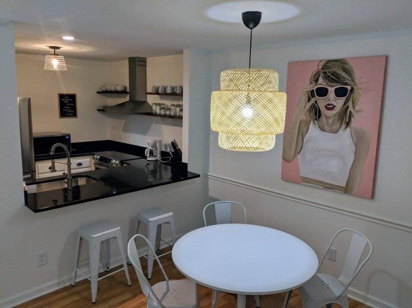 Open floorplan with original artwork