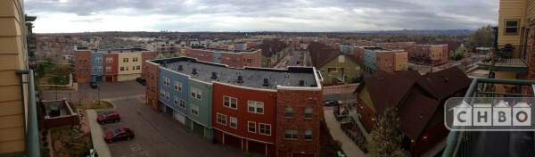 South Facing view of all 3 lofts.  Downtown Denver and the m
