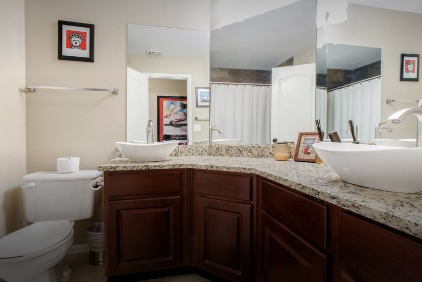 Remodeled Bathroom with His and Hers Vessel S