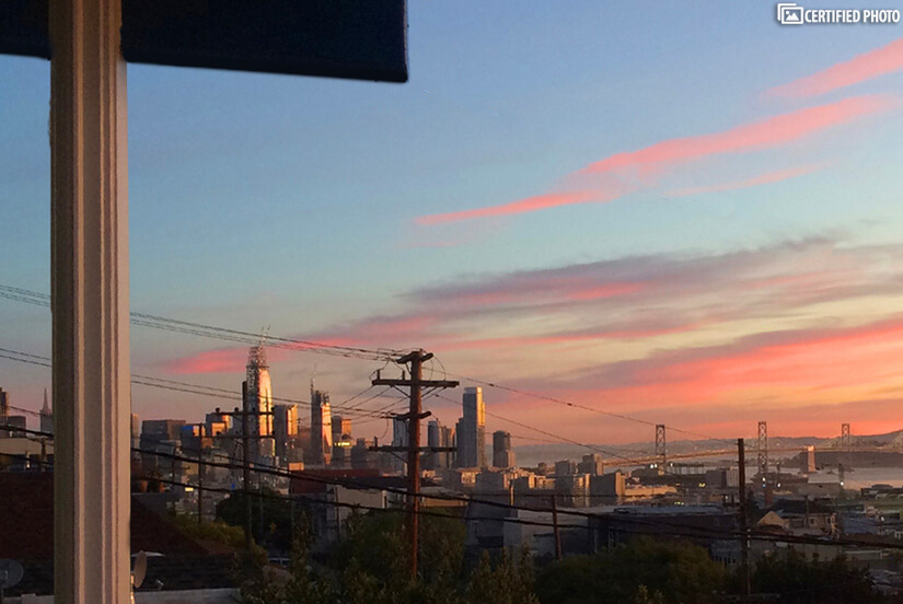 View from the front deck of downtown as the sun rises.