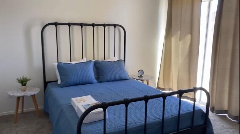 Queen size bed in bonus room
