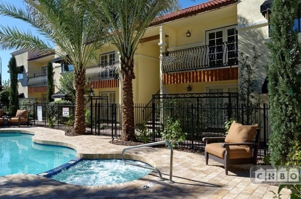 Pool, hot tub & exterior courtyard. Quiet, peaceful and cozy