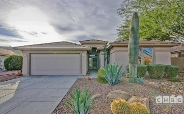 Front entrance,yards are desert theme.