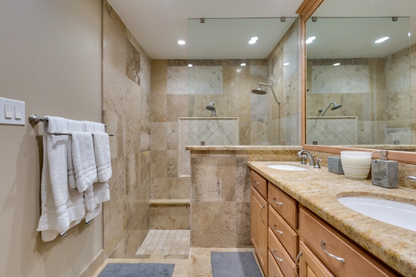 Master Bathroom with sunken Shower and dual s