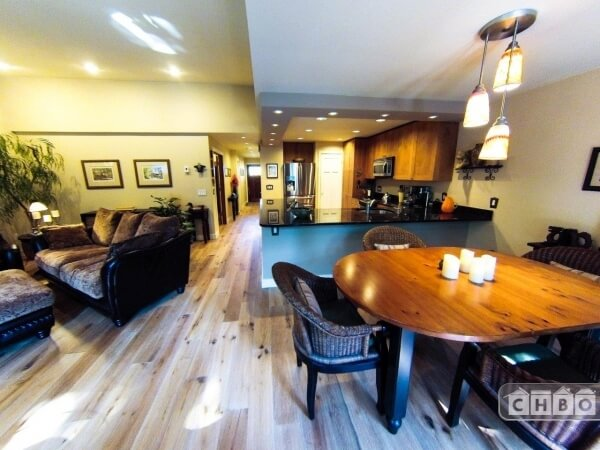 Updated open floor plan with new wide-plank o...