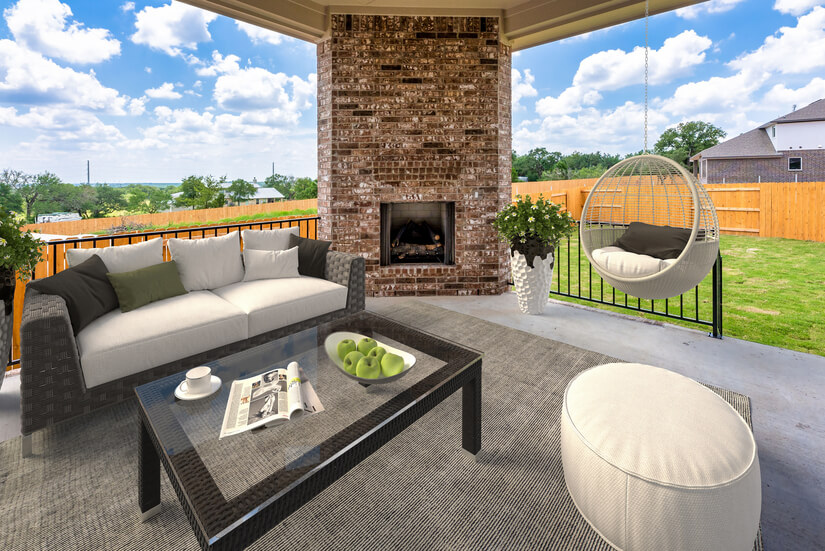 covered patio with gas firelace