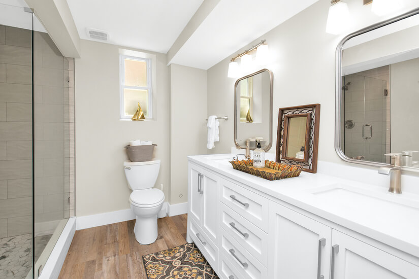 Downstairs Bathroom with double sinks