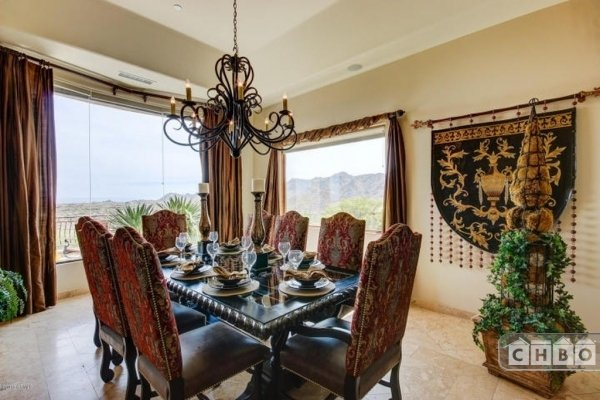 Formal dining room overlooking valley