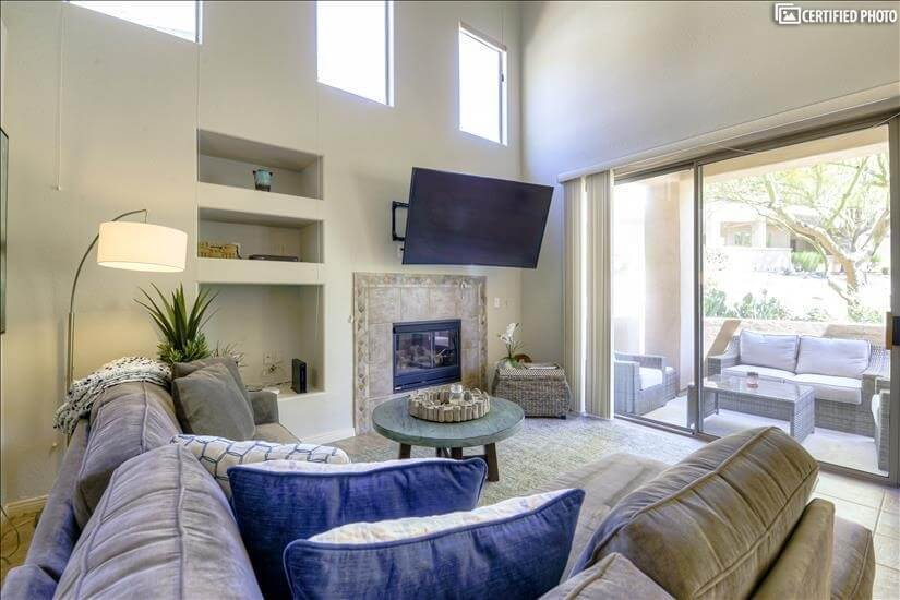Spacious living area furnished corporate rental Scottsdale