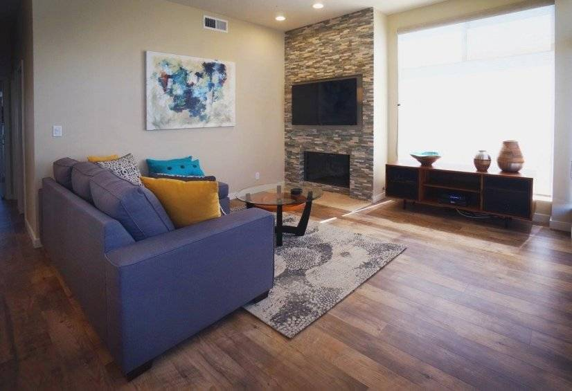 Living Room Facing Fireplace And 55 Inch TV