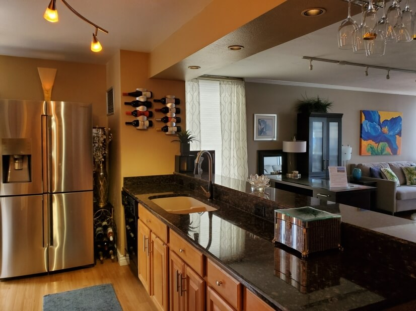 Kitchen w/ top of the line refrigerator