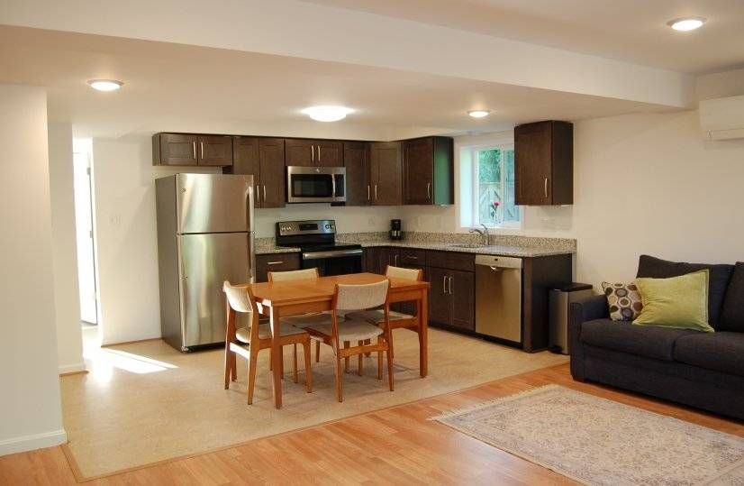 Dining and Kitchen area w/linoleum flooring