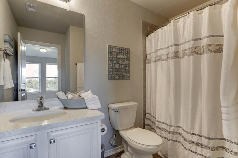 Full bath in bunk room.