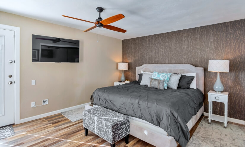 Master Bedroom. King-size Bed. 65 inch Smart