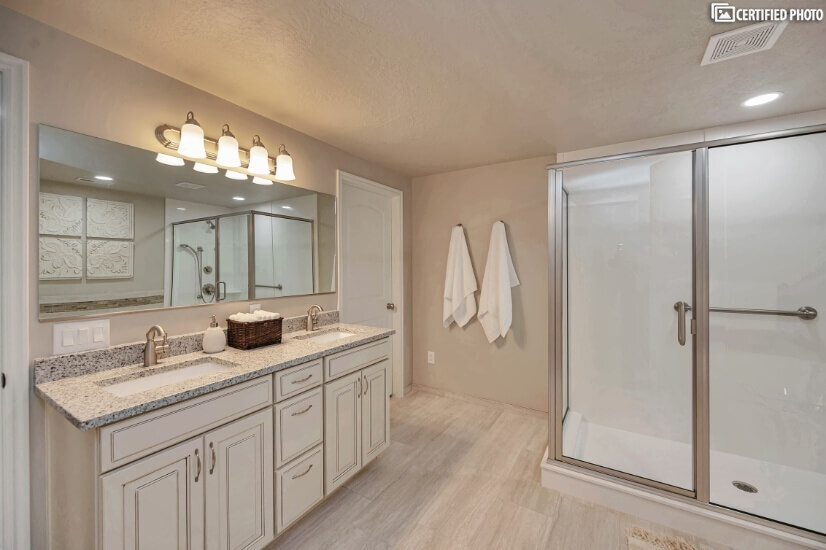 Downstairs Master Bathroom with Double Vanity