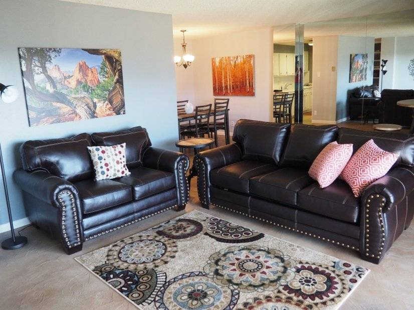 Large living room with sofa sleeper & flat screen television