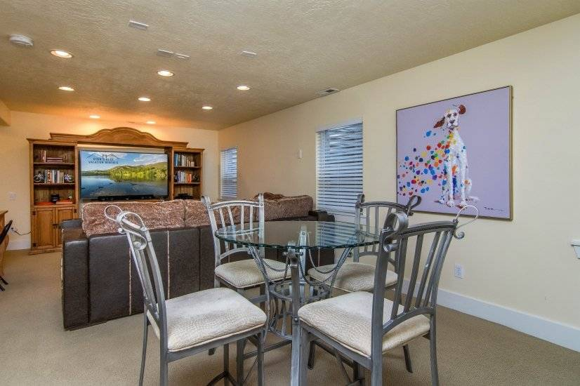 Basement Family Room with large TV and sitting area