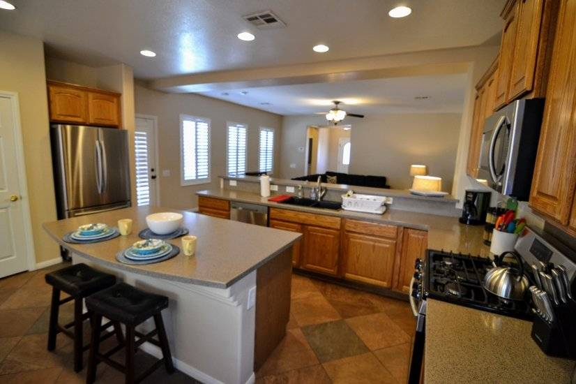 Spacious kitchen includes complete set of kitchenware