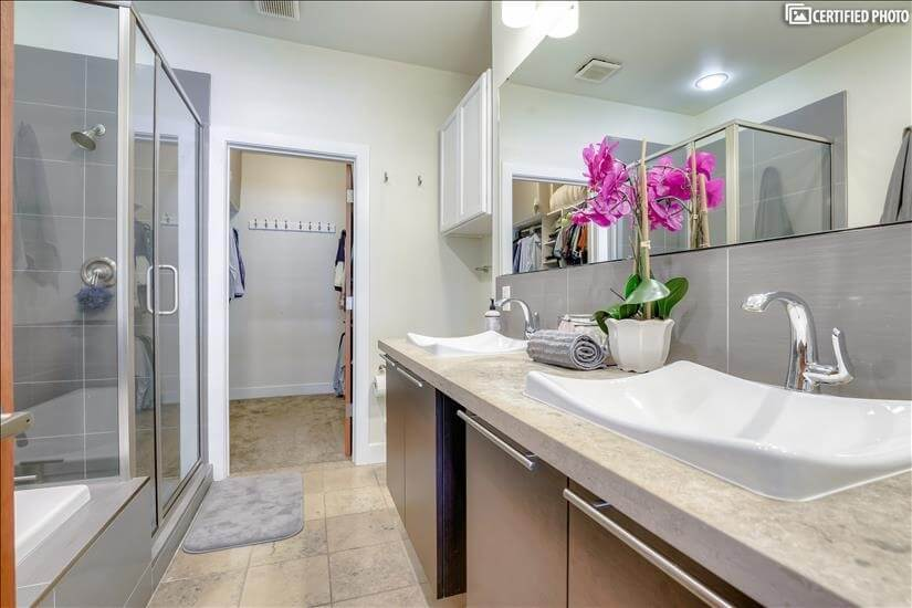 Two Sink Vanity and Walk-in Closet